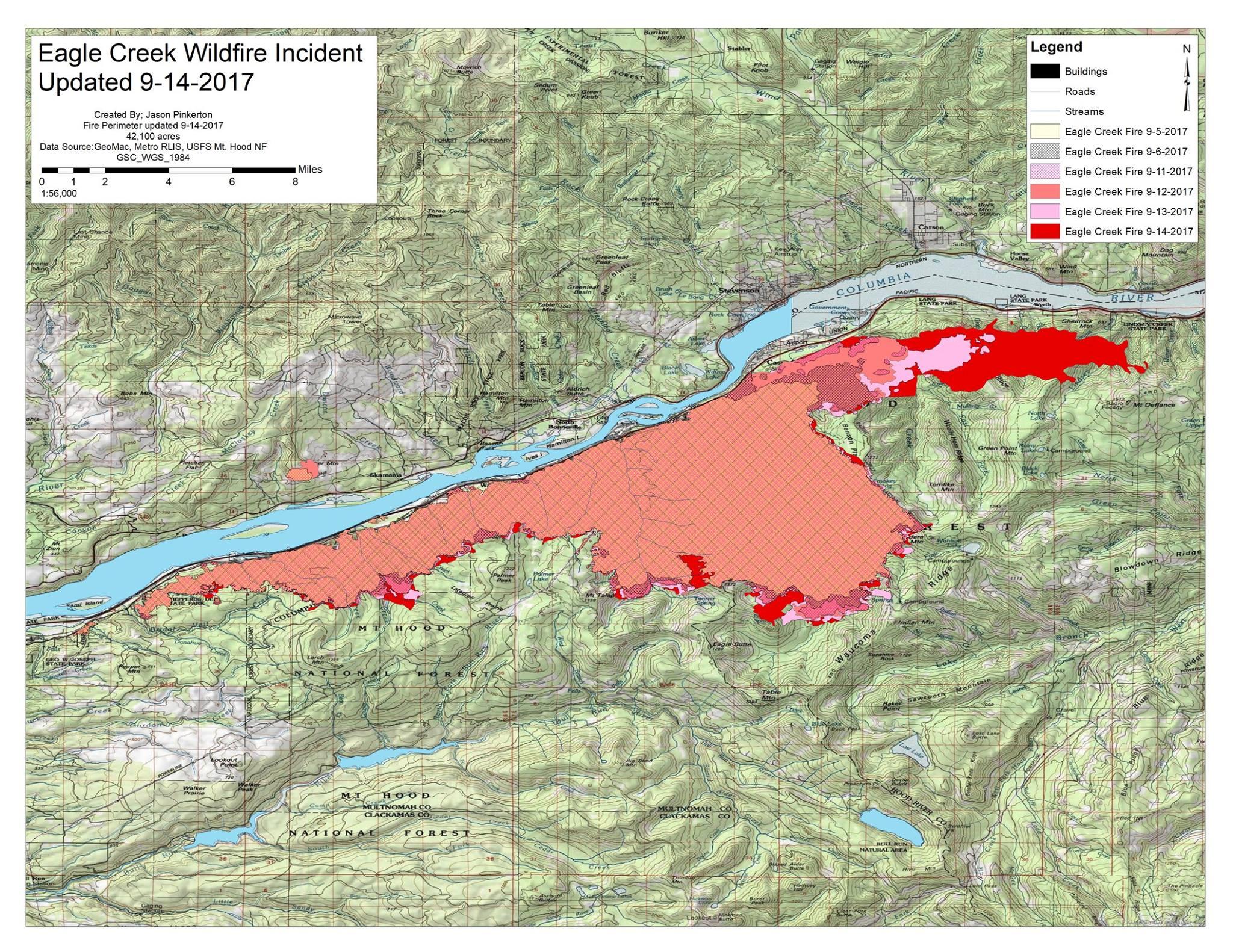 Fire Map Of Oregon 2017.Eagle Creek Fire Corbett Oregon