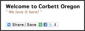 Share the Corbettoregon.com web site